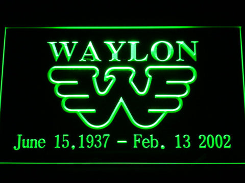 Waylon Jennings LED Neon Sign - Green - SafeSpecial