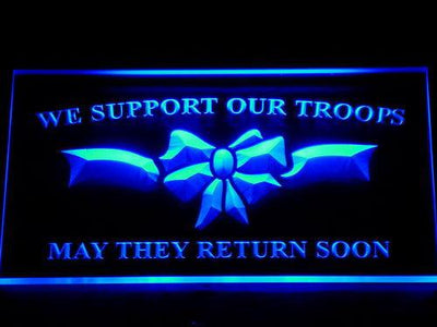We Support Our Troops LED Neon Sign - Blue - SafeSpecial