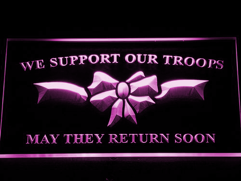 Image of We Support Our Troops LED Neon Sign - Purple - SafeSpecial