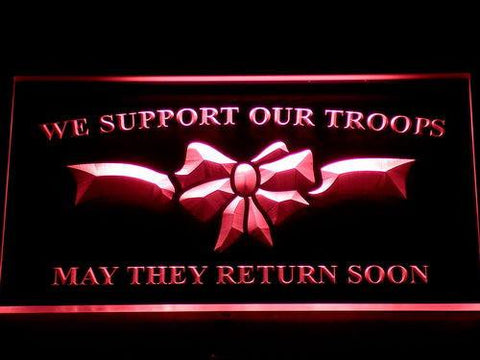 Image of We Support Our Troops LED Neon Sign - Red - SafeSpecial