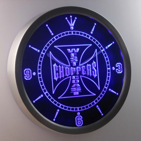 Image of West Coast Choppers LED Neon Wall Clock - Blue - SafeSpecial