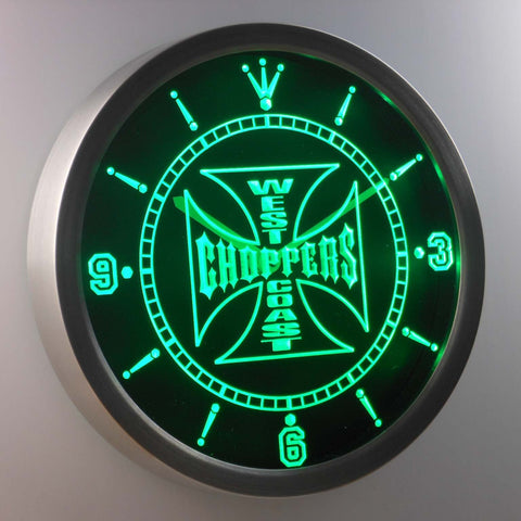 Image of West Coast Choppers LED Neon Wall Clock - Green - SafeSpecial