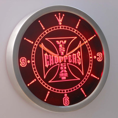 West Coast Choppers LED Neon Wall Clock - Red - SafeSpecial