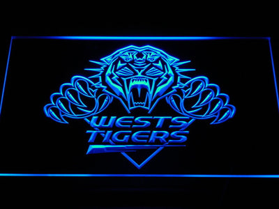 Wests Tigers LED Neon Sign - Blue - SafeSpecial