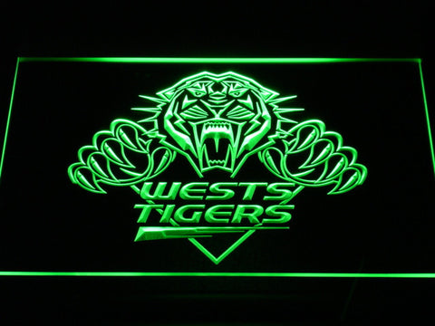 Wests Tigers LED Neon Sign - Green - SafeSpecial