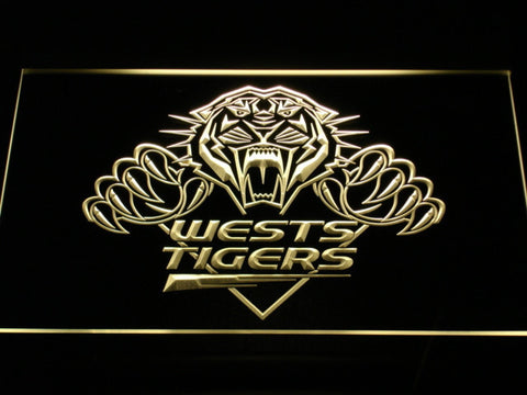 Wests Tigers LED Neon Sign - Yellow - SafeSpecial