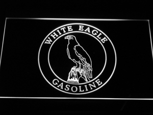 White Eagle Gasoline LED Neon Sign - White - SafeSpecial