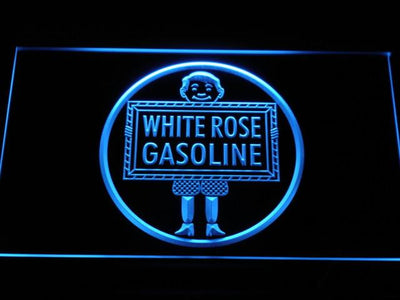 White Rose Gasoline - En-Ar-Co Boy LED Neon Sign - Blue - SafeSpecial