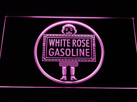 Image of White Rose Gasoline - En-Ar-Co Boy LED Neon Sign - Purple - SafeSpecial