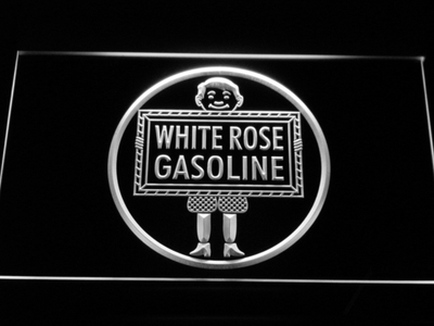 White Rose Gasoline - En-Ar-Co Boy LED Neon Sign - White - SafeSpecial
