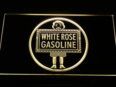 White Rose Gasoline - En-Ar-Co Boy LED Neon Sign - Yellow - SafeSpecial