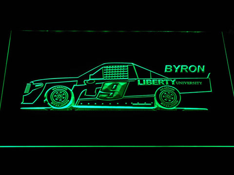Image of William Byron Race Car LED Neon Sign - Green - SafeSpecial