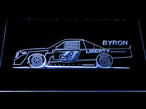Image of William Byron Race Car LED Neon Sign - White - SafeSpecial
