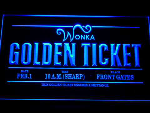 Image of Willy Wonka And The Chocolate Factory Golden Ticket LED Neon Sign - Blue - SafeSpecial