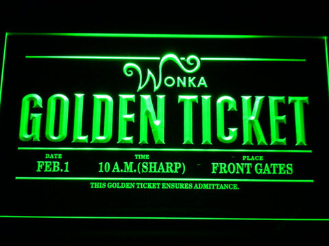 Image of Willy Wonka And The Chocolate Factory Golden Ticket LED Neon Sign - Green - SafeSpecial