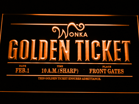 Image of Willy Wonka And The Chocolate Factory Golden Ticket LED Neon Sign - Orange - SafeSpecial