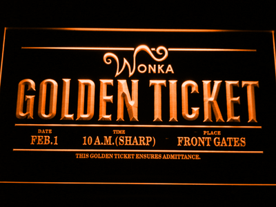 Willy Wonka And The Chocolate Factory Golden Ticket LED Neon Sign - Orange - SafeSpecial
