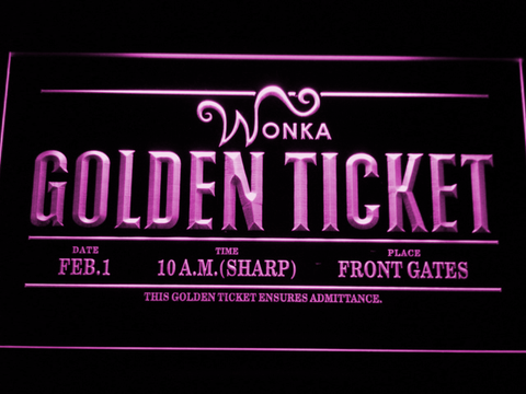Image of Willy Wonka And The Chocolate Factory Golden Ticket LED Neon Sign - Purple - SafeSpecial
