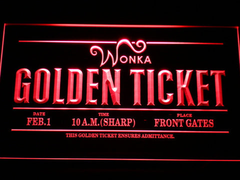 Image of Willy Wonka And The Chocolate Factory Golden Ticket LED Neon Sign - Red - SafeSpecial