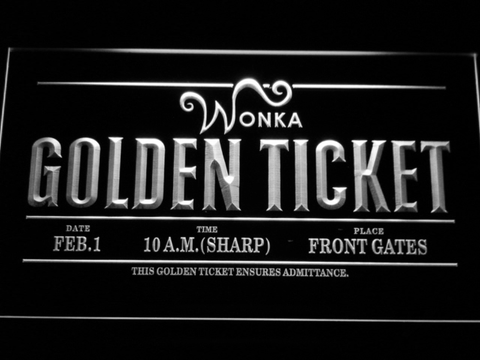 Image of Willy Wonka And The Chocolate Factory Golden Ticket LED Neon Sign - White - SafeSpecial