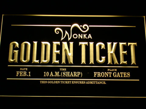 Image of Willy Wonka And The Chocolate Factory Golden Ticket LED Neon Sign - Yellow - SafeSpecial