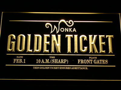 Willy Wonka And The Chocolate Factory Golden Ticket LED Neon Sign - Yellow - SafeSpecial