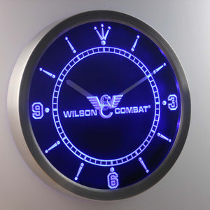 Wilson Combat LED Neon Wall Clock - Blue - SafeSpecial
