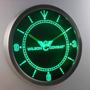 Wilson Combat LED Neon Wall Clock - Green - SafeSpecial