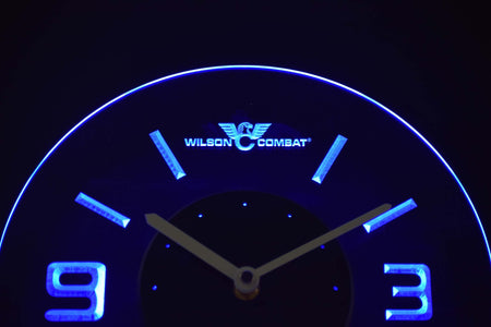 Wilson Combat Modern LED Neon Wall Clock - Blue - SafeSpecial