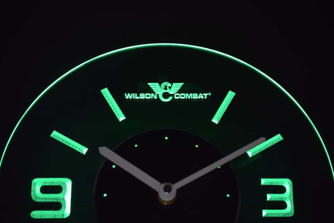 Image of Wilson Combat Modern LED Neon Wall Clock - Green - SafeSpecial
