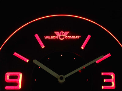 Wilson Combat Modern LED Neon Wall Clock - Red - SafeSpecial