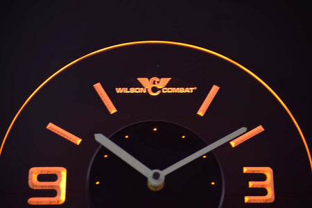 Wilson Combat Modern LED Neon Wall Clock - Yellow - SafeSpecial