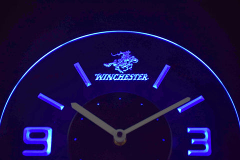 Image of Winchester Modern LED Neon Wall Clock - Blue - SafeSpecial