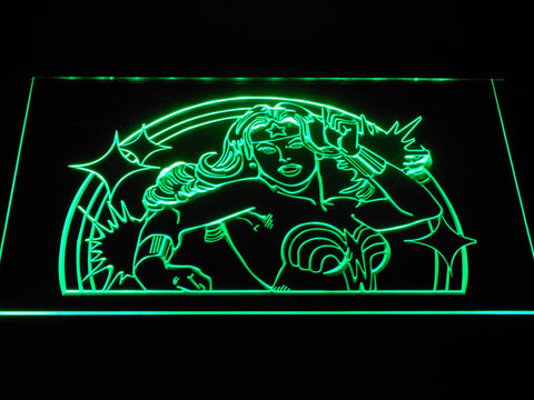 Wonder Woman LED Neon Sign - Green - SafeSpecial