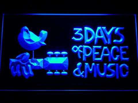 Woodstock Festival 1969 LED Neon Sign - Blue - SafeSpecial