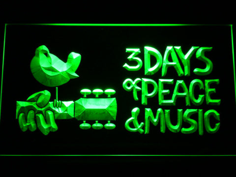 Woodstock Festival 1969 LED Neon Sign - Green - SafeSpecial