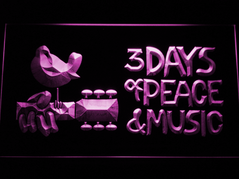 Woodstock Festival 1969 LED Neon Sign - Purple - SafeSpecial