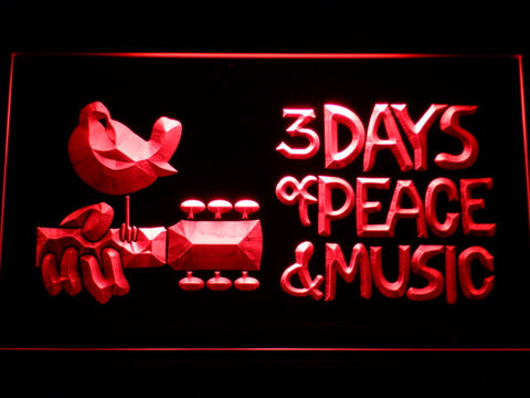 Woodstock Festival 1969 LED Neon Sign - Red - SafeSpecial