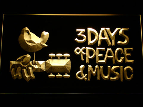 Woodstock Festival 1969 LED Neon Sign - Yellow - SafeSpecial