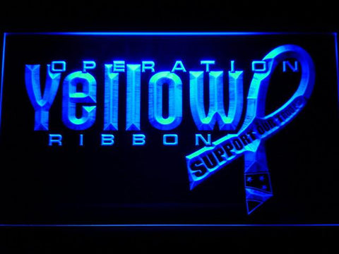 Image of Yellow Ribbon Support Our Troops LED Neon Sign - Blue - SafeSpecial