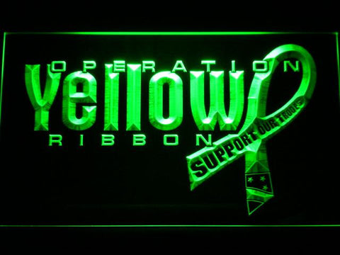 Image of Yellow Ribbon Support Our Troops LED Neon Sign - Green - SafeSpecial