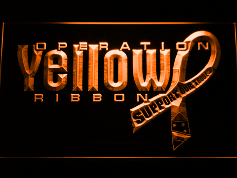 Image of Yellow Ribbon Support Our Troops LED Neon Sign - Orange - SafeSpecial