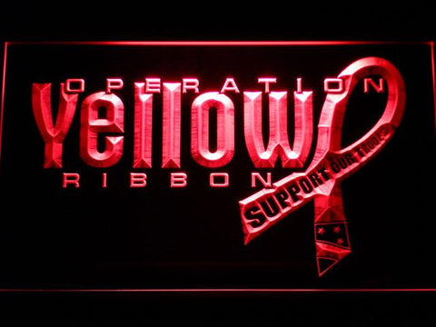 Image of Yellow Ribbon Support Our Troops LED Neon Sign - Red - SafeSpecial