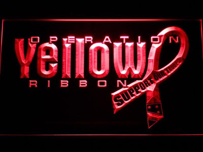 Yellow Ribbon Support Our Troops LED Neon Sign - Red - SafeSpecial