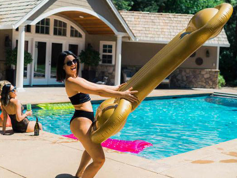 Golden Bae Golden Boy Dick Penis Pool Floaty Wild Raunch Bachelorette Party Ideas
