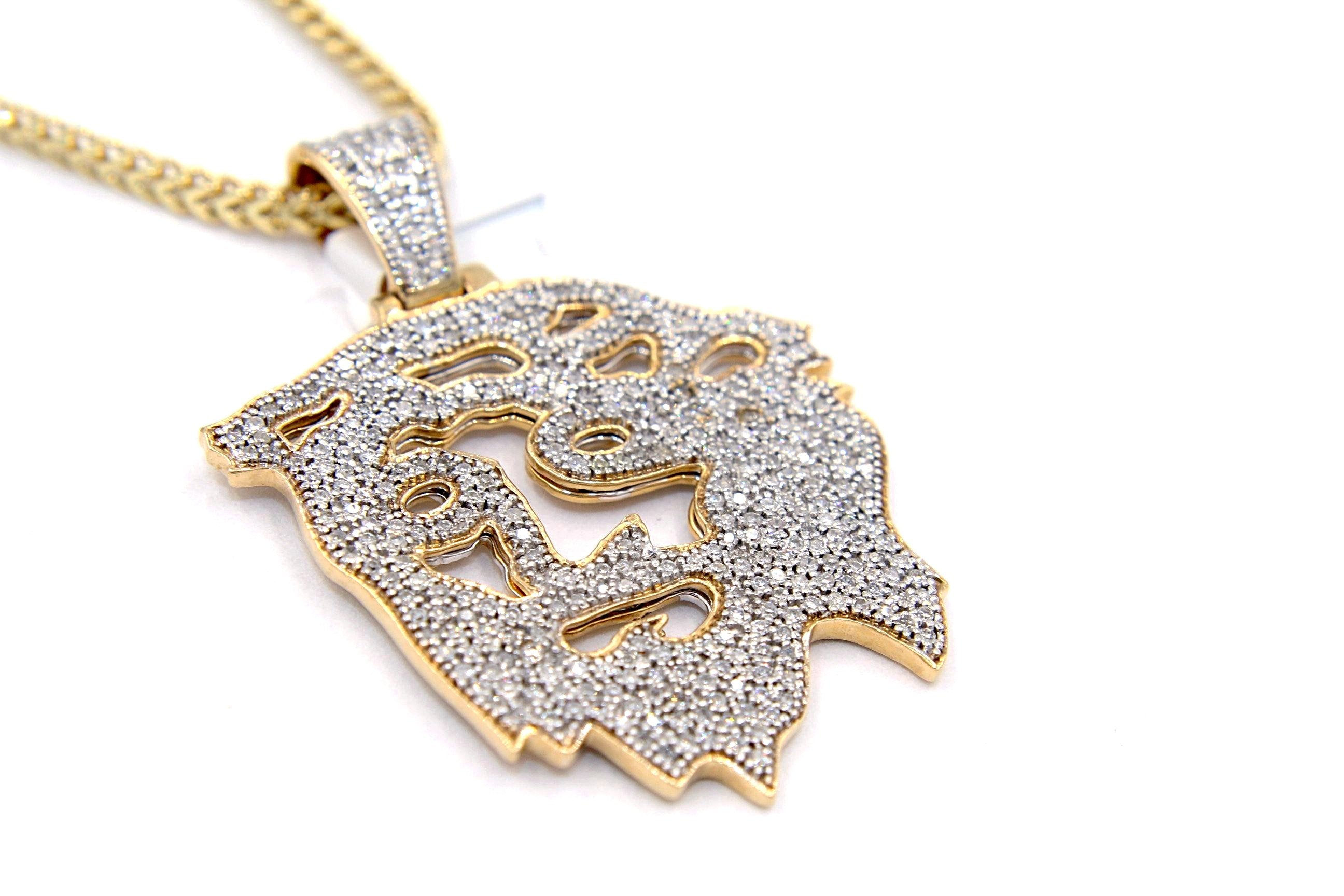 pave wave custom diamonds mens yellow diamond gold set pendant emoji real ip charm