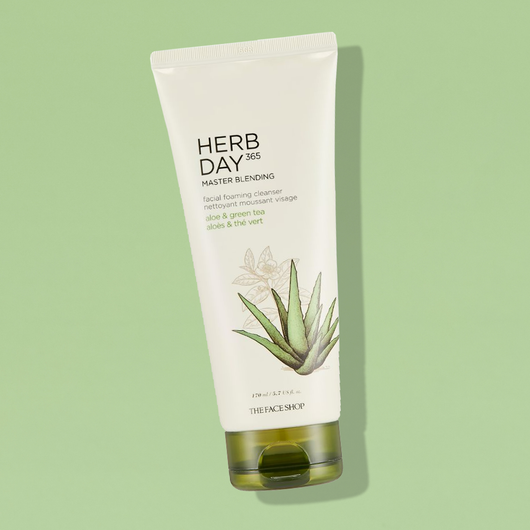 THEFACESHOP HERB DAY 365 MASTER BLENDING FACIAL FOAMING CLEANSER ALOE & GREEN TEA - THEFACESHOP Australia
