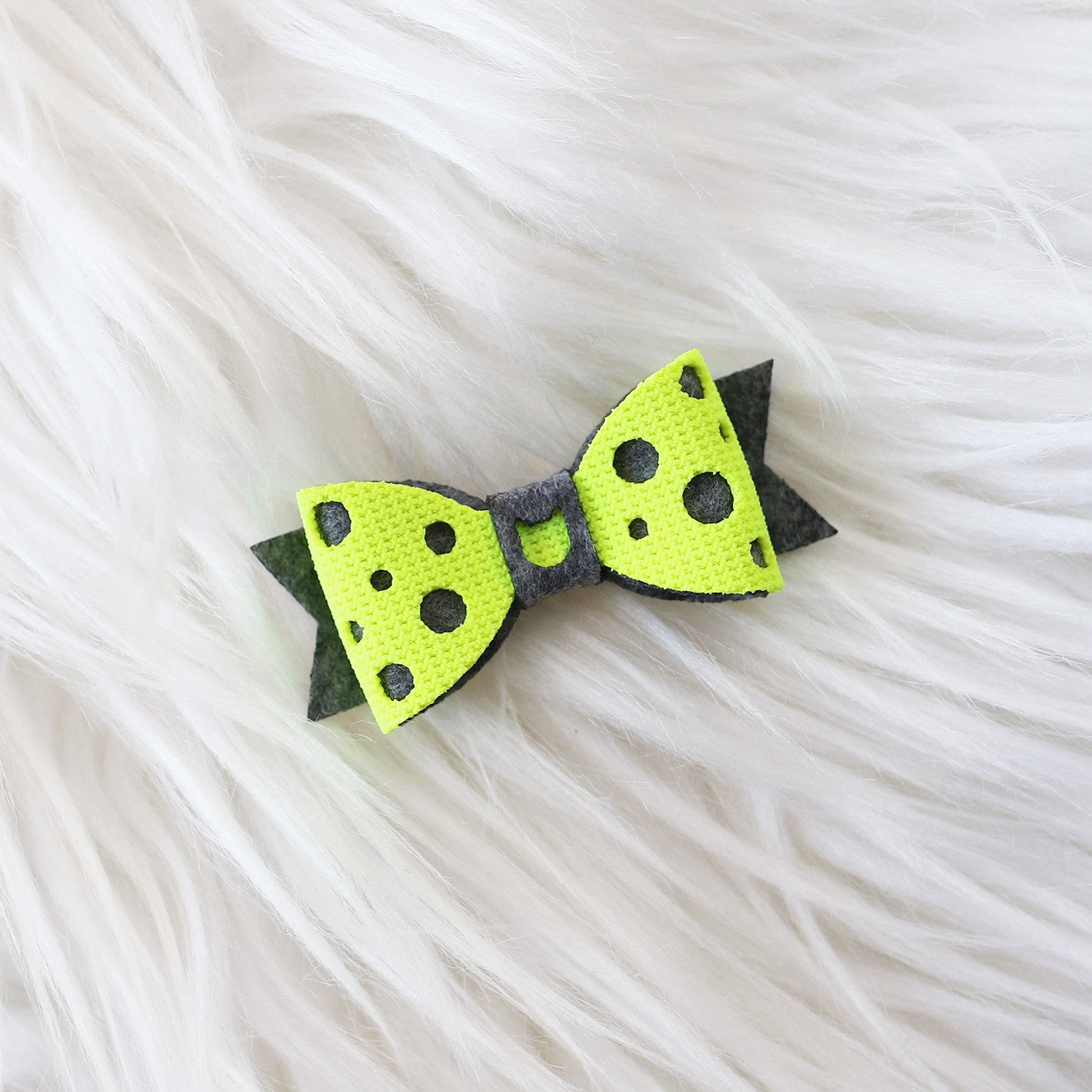 Swiss Cheese Hair Bow - Neon & Dark Grey (2-pack)