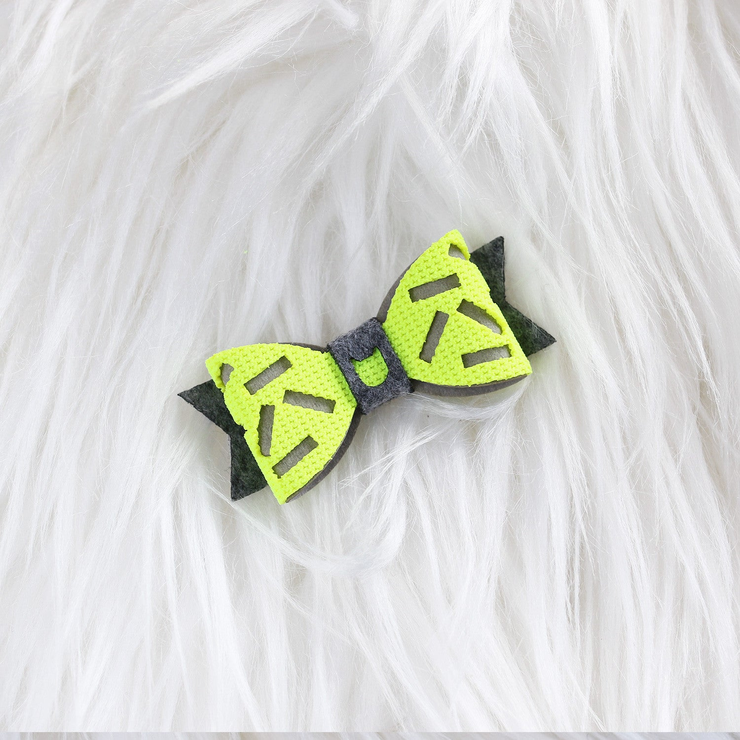 Donut Hair Bow - Neon Yellow & Grey (2-pack)