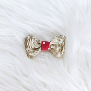 Fabric Hair Bow Duo - Strawberry dot gold (2-pack)